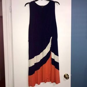 Casual Soft Sleevless Navy, Orange and Cream Dress